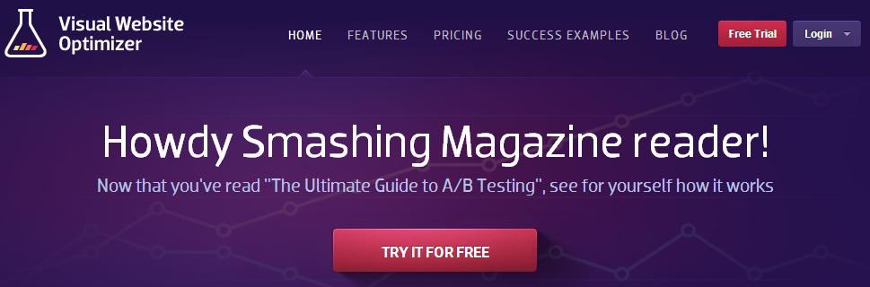Visual Website Optimizer Smashing Magazine test