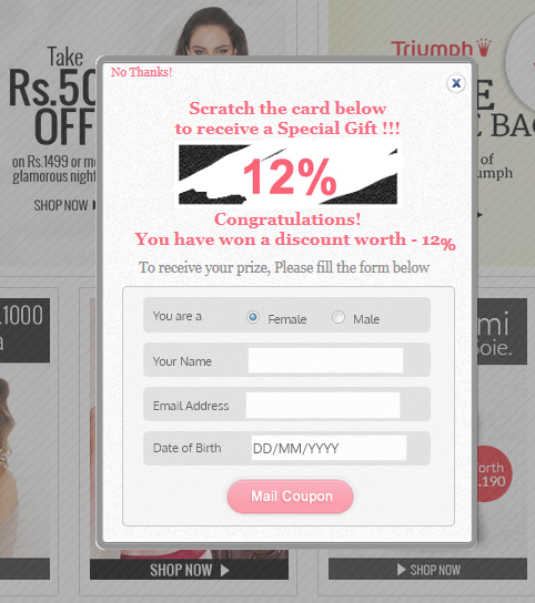 Zivame offers discount to every site visitor