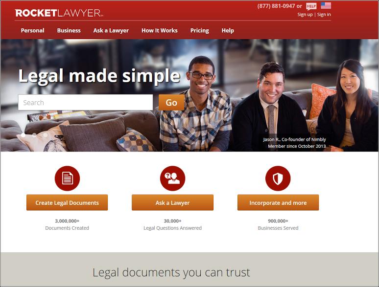Rocket Lawyer color scheme