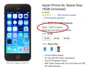 eCommerce Store Screenshot - Scarcity Tactic