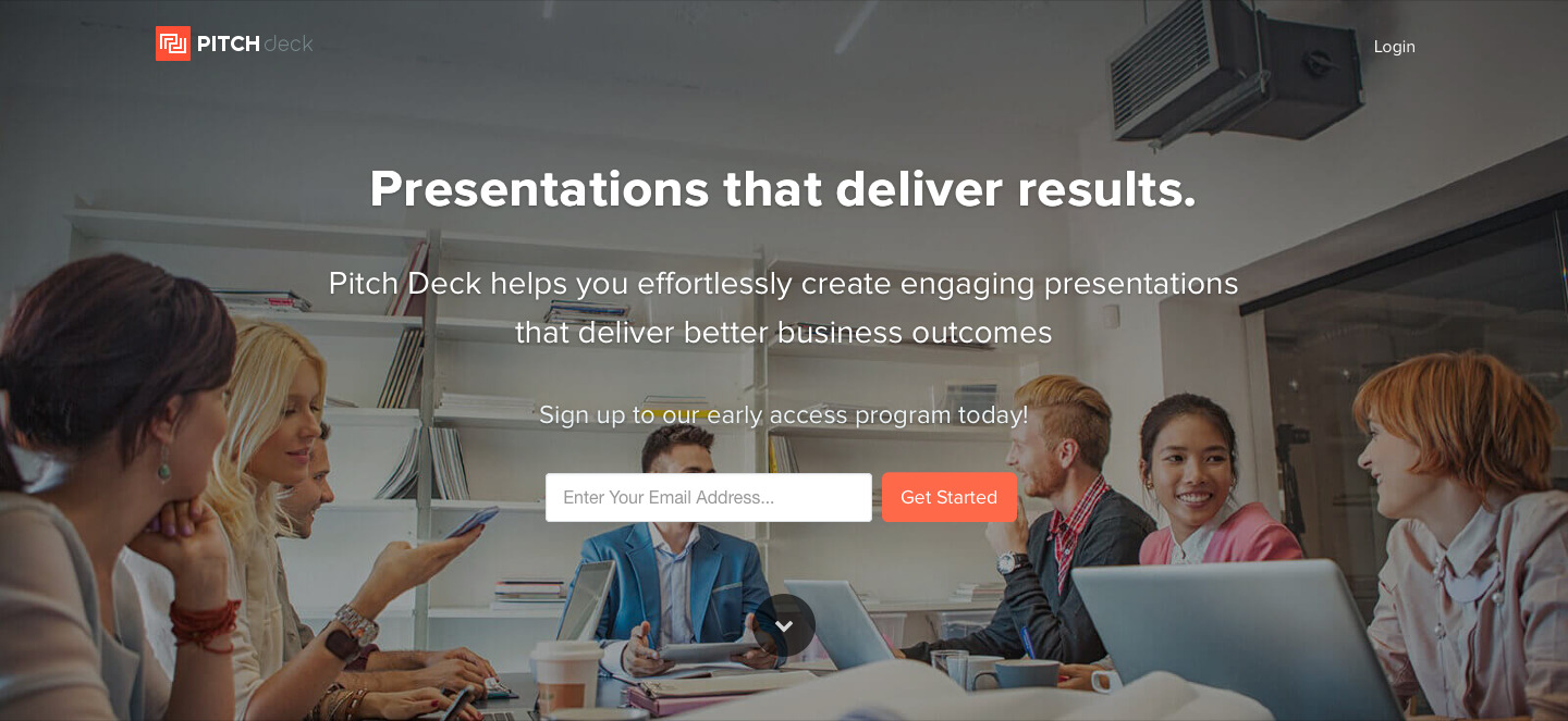 PitchDeck Homepage Example