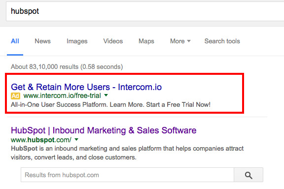 Intercom search ad on Hubspot search page
