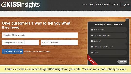Website survey example from Kissmetrics