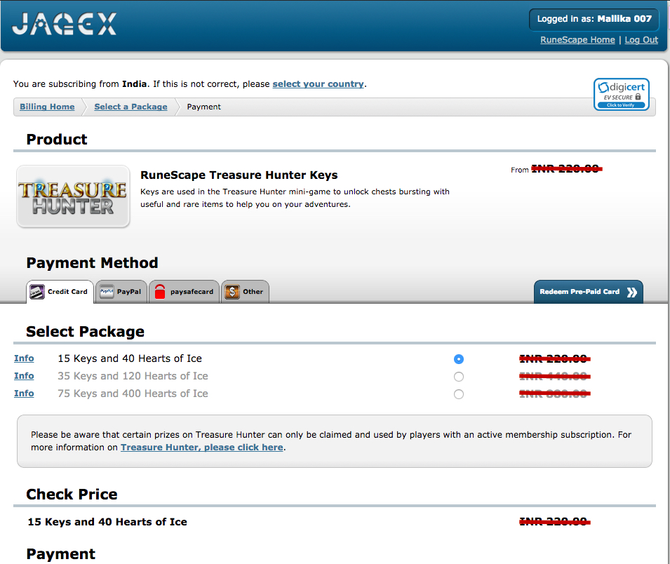 RuneScape payment page